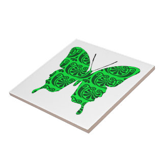 Butterfly Collage Victorian Green Small Square Tile