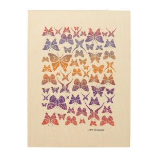 Butterfly Collage Wood Wall Decor