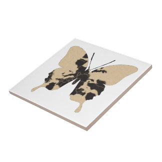 Butterfly Collage World Map Small Square Tile