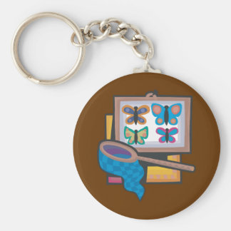 Butterfly Collecting Basic Round Button Keychain