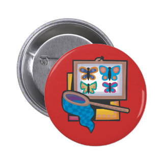 Butterfly Collecting Pinback Button