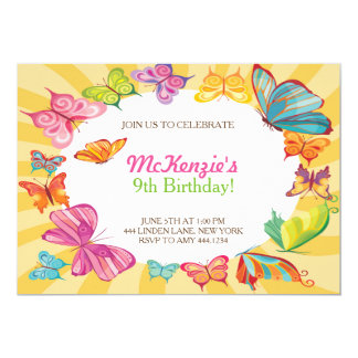 """Butterfly Colorful Birthday Party Invitations 5"""" X 7"""" Invitation Card"""