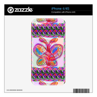 BUTTERFLY Colorful Sketch Art Skin For iPhone 4