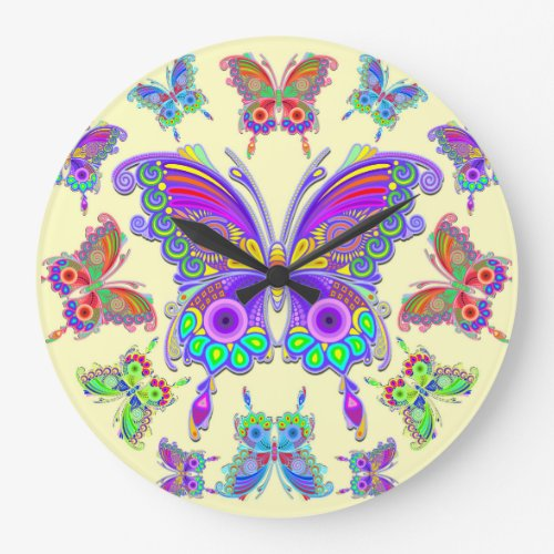 Butterfly Colorful Tattoo Style Large Clock