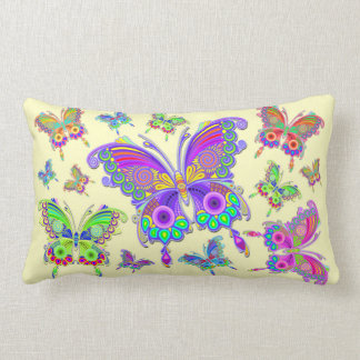 Butterfly Colorful Tattoo Style Lumbar Pillow