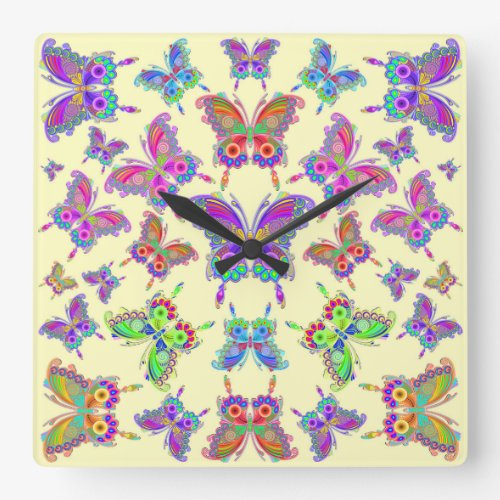 Butterfly Colorful Tattoo Style Square Wall Clock