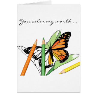 Butterfly coloring card of love