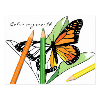 Butterfly coloring post card