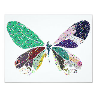 """butterfly colors 4.25"""" x 5.5"""" invitation card"""