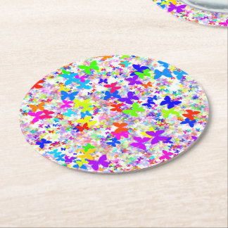 butterfly confetti disposable coasters round paper coaster