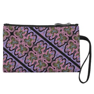 Butterfly Crayon Art on Black by EelKat Wristlet Wallet