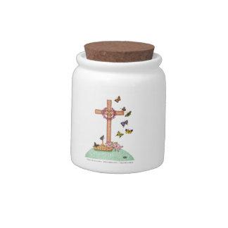 Butterfly Cross Prayer Jar Candy Dish