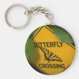 Butterfly Crossing Basic Round Button Keychain