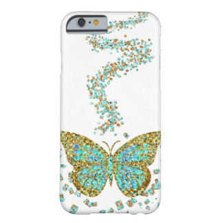 Butterfly Crystal Gold Glitter Confetti Mint Teal Barely There iPhone 6 Case