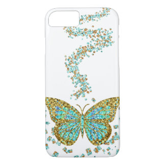 Butterfly Crystal Gold Glitter Confetti Mint Teal iPhone 7 Case