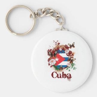 Butterfly Cuba Basic Round Button Keychain