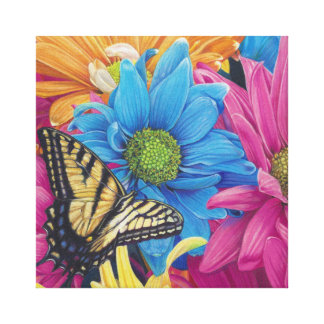 Butterfly Daisies Colored Pencil Art Print
