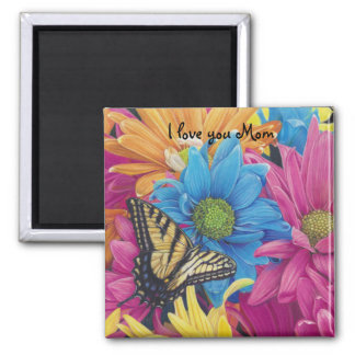 Butterfly Daisies Colored Pencil Art Print 2 Inch Square Magnet