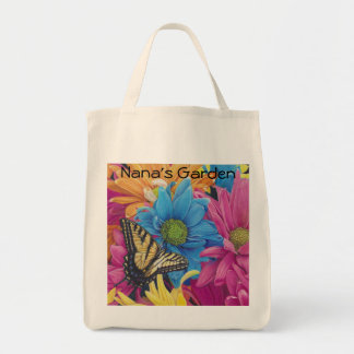 Butterfly Daisies Colored Pencil Art Print Grocery Tote Bag