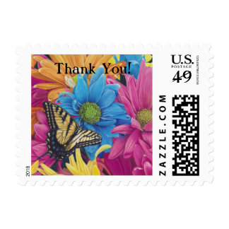Butterfly Daisies Colored Pencil Art Print Postage Stamp
