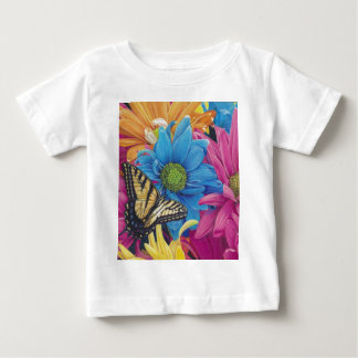 Butterfly Daisies Colored Pencil Art Print Tee Shirt