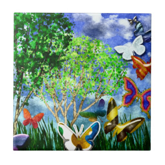 BUTTERFLY DANCE SMALL SQUARE TILE