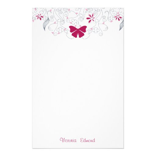 Butterfly Dark Pink Whimsy Personalized Stationery