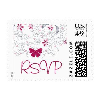 Butterfly Dark Pink Whimsy RSVP Postage
