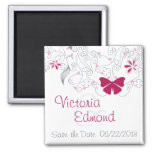 Butterfly Dark Pink Whimsy Save the Date Magnet