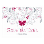 Butterfly Dark Pink Whimsy Save the Date Postcard