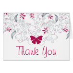 Butterfly Dark Pink Whimsy Thank You Card