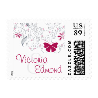 Butterfly Dark Pink Whimsy Wedding Postage