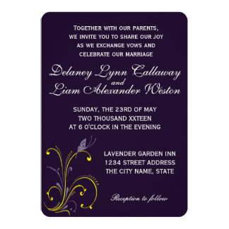 Butterfly   Dark Royal Purple & Sunny Lemon Yellow Card