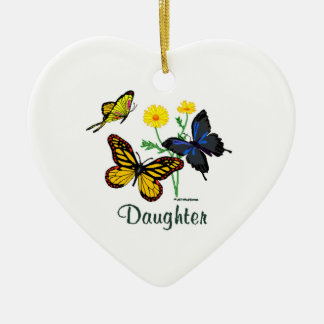 Butterfly Daughter Double-Sided Heart Ceramic Christmas Ornament
