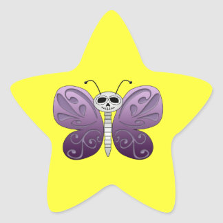 Butterfly Day of the Dead Design Star Sticker