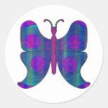 Butterfly DBlue Round Sticker