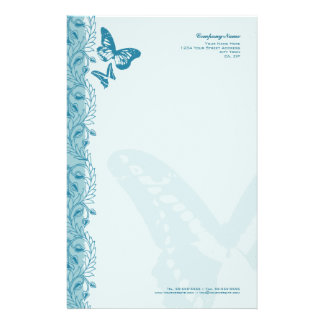Butterfly & Decorative Ornate Border in Blue Stationery