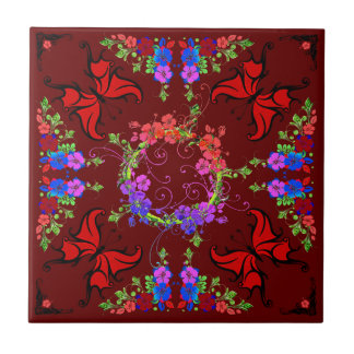 BUTTERFLY DELIGHT (butterfly and flower design) ~ Tile