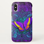 """Butterfly Delight Tough iPhone X Case<br><div class=""""desc"""">Colorful purple,  pink,  orange,  yellow and red butterfly artwork with swirls over a delicate and intricate swirly purple and teal mandala. Customize your case by choosing your favorite background color. See other models and styles with this design in the dropdown.</div>"""