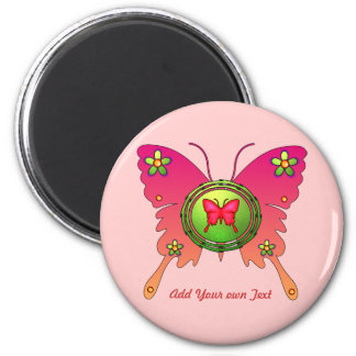 Butterfly Design 2 Inch Round Magnet