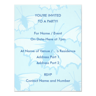 Butterfly Design in Pastel Blue. 4.25x5.5 Paper Invitation Card
