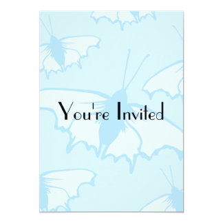 Butterfly Design in Pastel Blue. 5x7 Paper Invitation Card