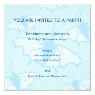 Butterfly Design in Pastel Blue. Invitation