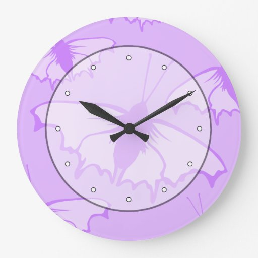 Butterfly Design in Purple. Wall Clocks