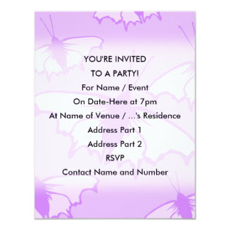 Butterfly Design in Purple. 4.25x5.5 Paper Invitation Card