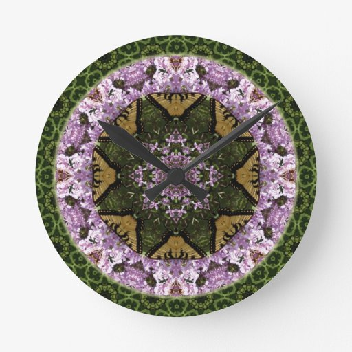 Butterfly Design Mandala Round Clock