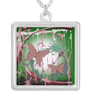 Butterfly design square pendant necklace