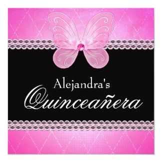 Butterfly Diamonds Pink Quinceanera Card