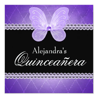 Butterfly Diamonds Purple Quinceanera Card