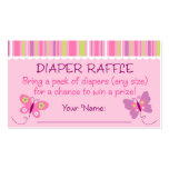 Butterfly Diaper Raffle Tickets Double-Sided Standard Business Cards (Pack Of 100)